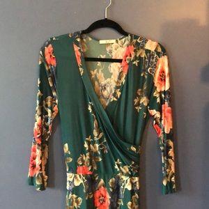 Tua Stunning emerald floral maxi dress size L